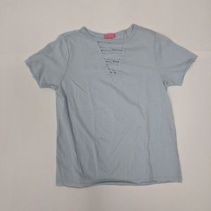 Me.n.u Light Blue Cotton & Polyester Girl's Tee